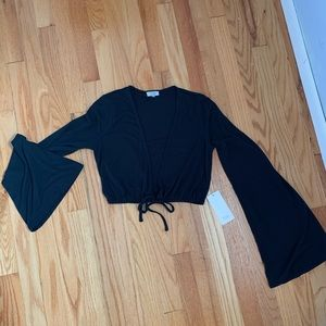 Tobi Bell Sleeve Black Crop Top